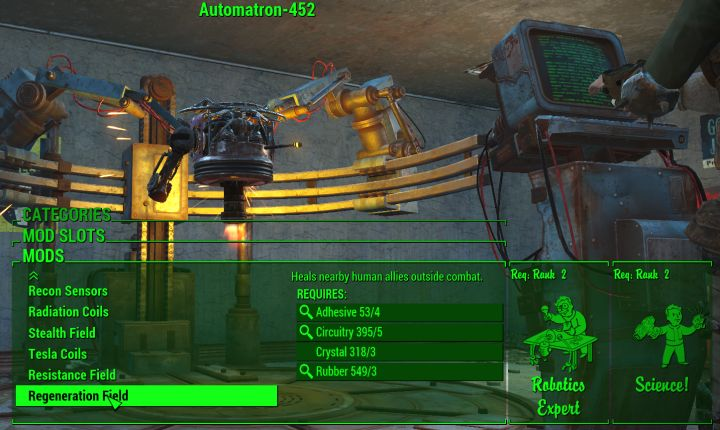 Torso upgrades for robots in Fallout 4 Automatron