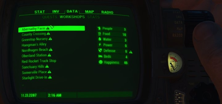 Workshops in Fallout 4 lists all your Settlements