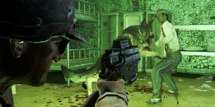 Dogmeat in the thick of combat, attacking an enemy in Fallout 4