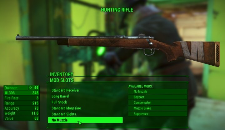 A basic Hunting Rifle in Fallout 4
