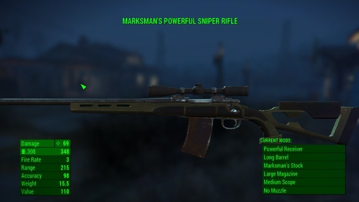 A hunting rifle turned into a sniper rifle in Fallout 4
