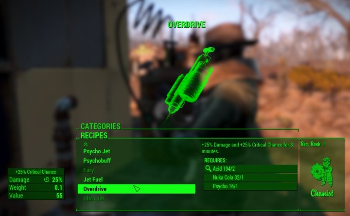 Overdrive is a drug that lets you critical hit 25% of the time and do extra damage for 8 minutes in Fallout 4