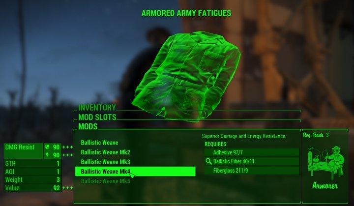 Fallout 4 Ballistic Weave Armor Mod - Getting It