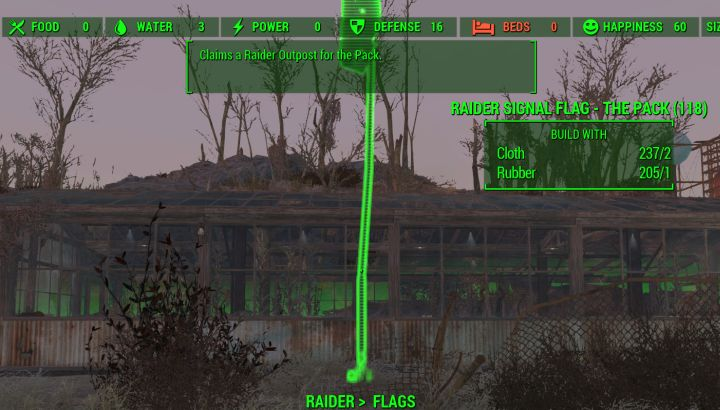 Raider flag at outpost in Fallout 4 Nuka World.