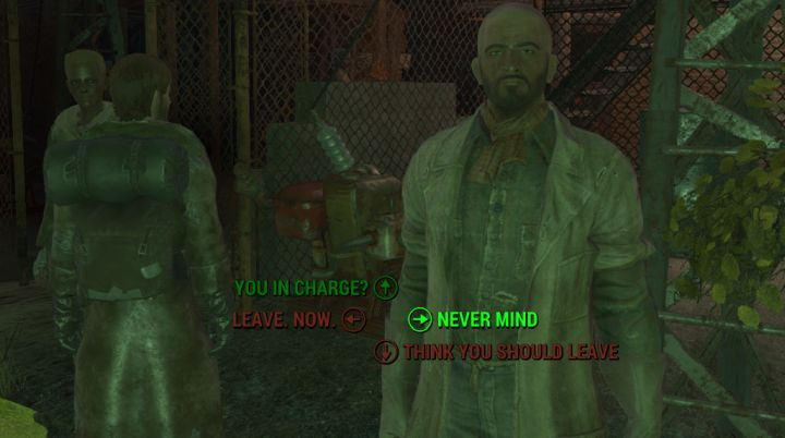 A speech check to intimidate settlers into giving you the outpost in Fallout 4 Nuka World