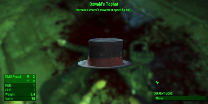 Oswald's Tophat in Fallout 4 Nuka World is a hat that increases movement speed
