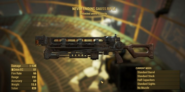 Unlimited Gauss Rifle in Fallout 4 from Legendary Synth