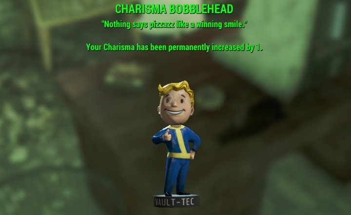 Fallout 4 Charisma Bobblehead is found in Parsons State Asylum while on the Secret of Cabot House Quest
