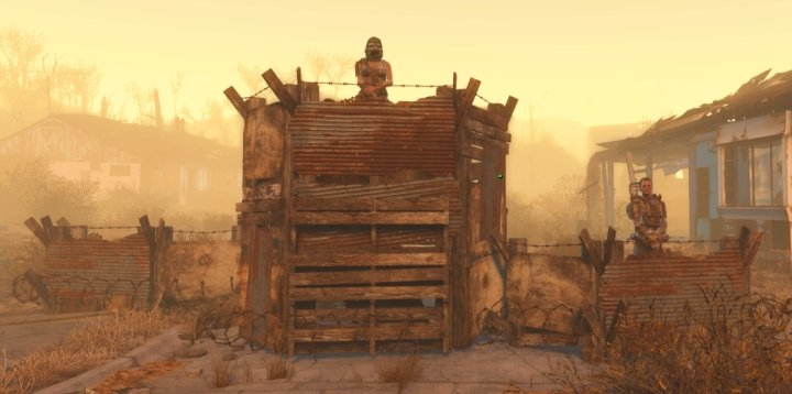 Settlers assigned to guard the Settlement in Fallout 4.