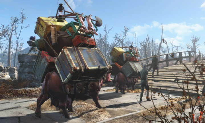 Supply Lines transfer food, water, and building materisl in Fallout 4