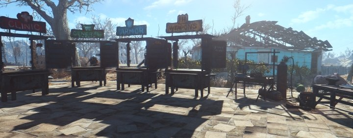 Making stores in the Sanctuary Settlement, along with Supply Lines, will allow you to have all the crafting and shopping resources you need in one area.