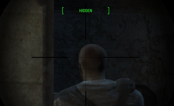 Stealthy sniper in Fallout 4 evades detection to score a sneak-attack head shot.